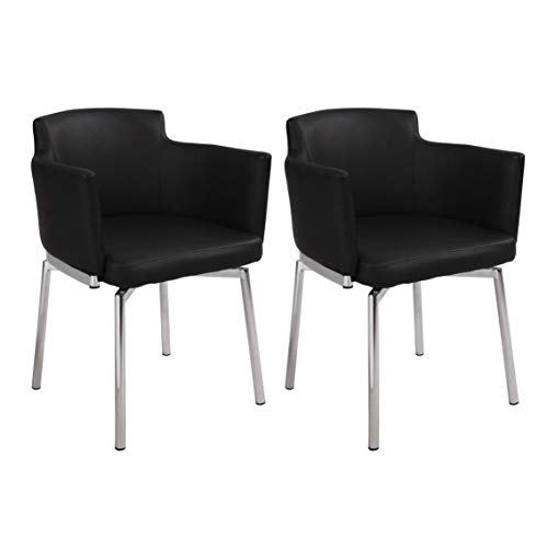 Milan Denise Club Style Swivel Arm Chair (Set of 2), Black For Sale