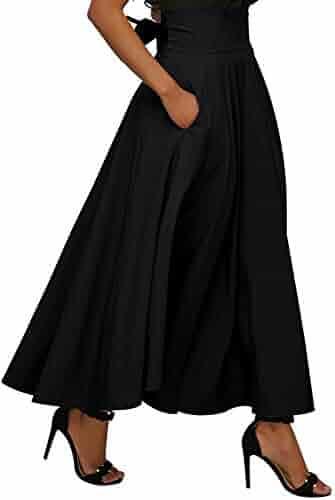 0a93098c029 Calvin   Sally Women s Casual Flowy Dress High Waist Pleated Midi Skirt  with Pockets