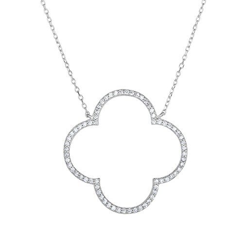 Unique Royal Jewelry Sterling Silver Open Four Leaf Clover CZ Necklace with Adjustable Length and Lobster Claw Lock. (Natural Silver)