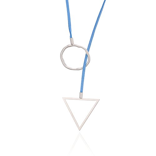 J Meng Blue Leather Long Necklace - Elegant Simple Silver Triangle and Round Pendant Necklace