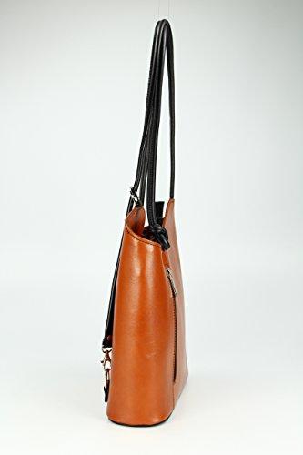 Bolso 8cm ancho En Cognac Para Colores 28 mochila Diferentes Fina Belli De Piel Fondo Alto X Mochila Belli Italiano Mujer Schwarz Piel rqTar