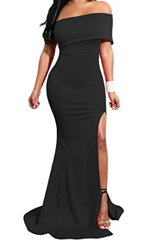 Bretelle Solido Sexy Cut Senza Coolred Di Da Maxi donne Partito Sera Vestito Out Black xZUtE8w