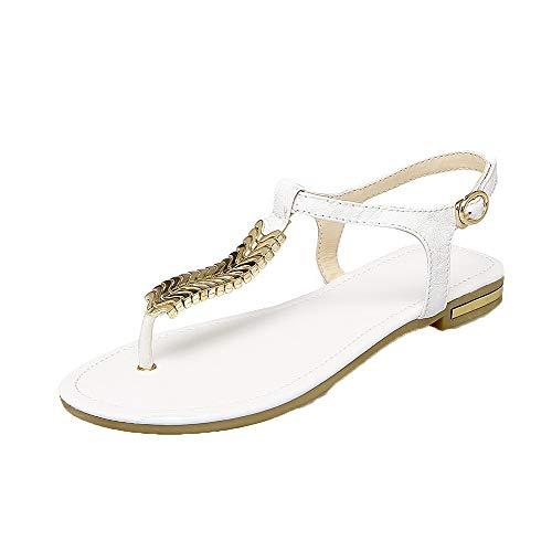 Boucle Sandales AgooLar Unie Couleur d'orteil Femme Bas à Blanc Ouverture Talon GMBLB015147 zq87z