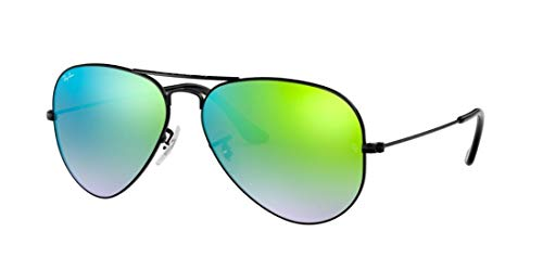 New Authentic Ray-Ban Aviator RB 3025 002/4J 58mm Black/Green Gradient Mirror Med. (58 Aviator 002 3025)