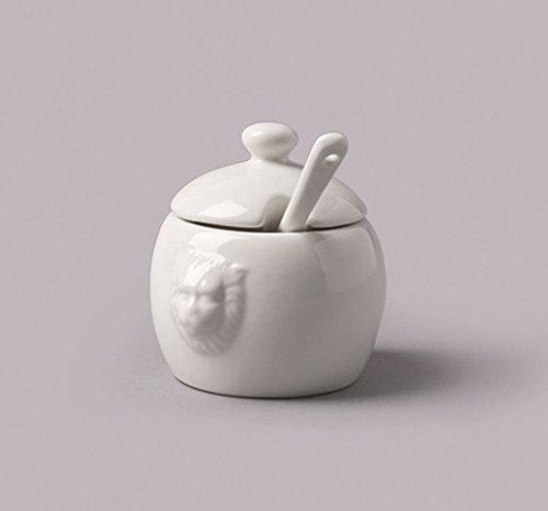 - WM Bartleet & Sons Ceramic White Mustard Pot with Spoon T420
