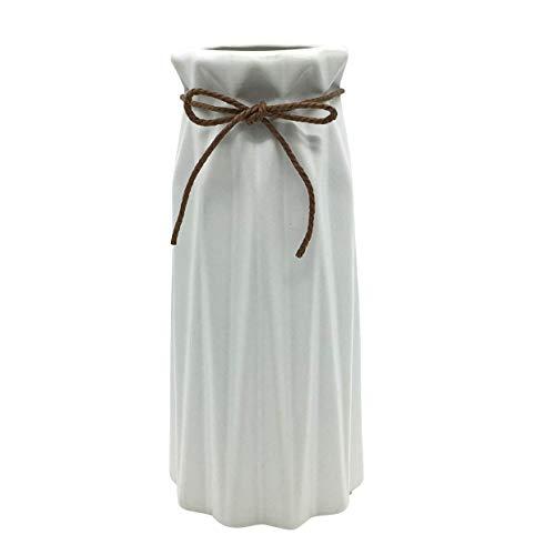 Gemseek White Ceramic Flower Vase, 7 inch Tall Decorative Table Floral Vase for Living Room Indoor Home Decor, Wedding Centerpieces/Arrangements (Ceramic Floral Vase)