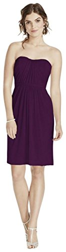 Short Strapless Mesh Bridesmaid Dress with