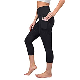 "Yogalicious 22"" High Waist Yoga Capris - Yoga Leggings - Yoga Capris for Women - Black with Pocket - Medium"