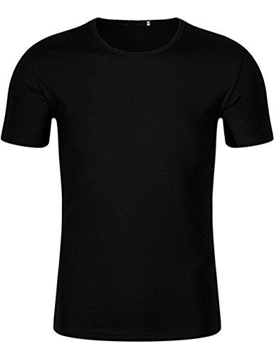 Silk Cotton Crewneck T-shirt - XI PENG Men's Summer Casual Tops Dress Crewneck Solid Short Sleeve Tees T-Shirt (Medium, Black)