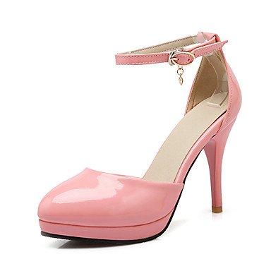 LvYuan Tacón Stiletto-Zapatos del club-Sandalias-Boda Oficina y Trabajo Vestido-Cuero Patentado-Negro Rosa Rojo Beige Pink