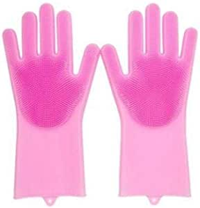 Silicone Gloves With Wash Scrubber Kitchen Cleaning Tool