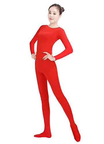 Ensnovo Womens Lycra Spandex One Piece Unitard Full Bodysuit Zentai Suit Costume Red S