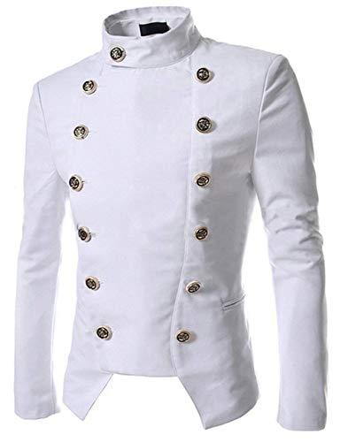 Retro Montant Bouton D'affaires Poil Long Slim Quotidien Tunique Blazer Col Veste Blanc Court Coupe À Costume Classique Manteau FxqUxEwYX