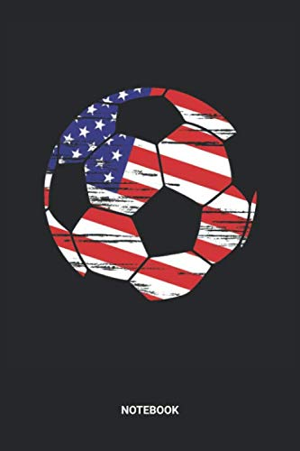 Notebook: Dotted Lined US American Flag Soccer Notebook (6x9 inches) ideal as a Merica Foosball Pitch Journal. Perfect as a Coaching Book for all ... Lover. Great gift for Kids, Men and Women