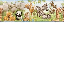 Chesapeake BYR83001B Flemming Jungle Pals Portrait Wallpaper Border, Green (Pals Wallpaper)