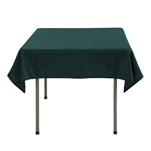 Waysle 52 x 52-Inch Square Tablecloth, 100% Polyester Washable Table Cloth for Square or Round Table, Hunter Green ()