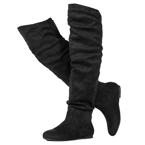 (RF ROOM OF FASHION Stretchy Over The Knee Slouchy Boots (Medium Calf) Black (7))