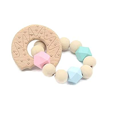 Summit Provisions Donut (Doughnut) Teether Natural Wooden Montessori Baby Infant Colorful Toy: Toys & Games