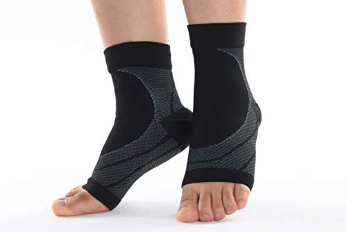 AndeKit Ankle Brace Support,Compression Sleeve(1PR)-relieves Plantar Fasciitis,Achilles tendonitis, sprained,Swelling.Foot Brace-Exercise,Sports,Gym,(L-Black)