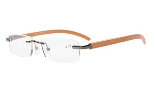 Eyekepper Small Lens Rimless Reading Glasses for Men And Women In Wood Temple Arms And Spring Hinges Gunmetal - Lens Small