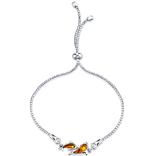 Peora Baltic Amber Dolphin Sterling Silver Adjustable Friendship Bracelet