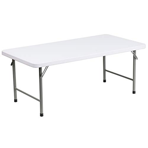 Flash Furniture 24 W x 48 L x 19 H Kid s Granite White Plastic Folding Table