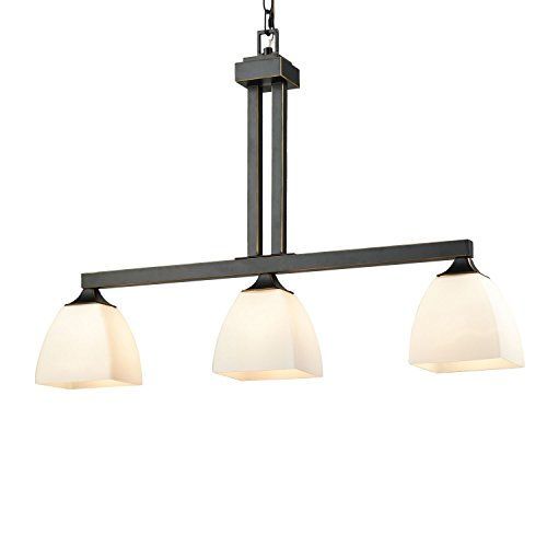 YOBO Lighting Vintage Glass Kitchen Island Lighting, 3-Light Black Pendant Chandeliers