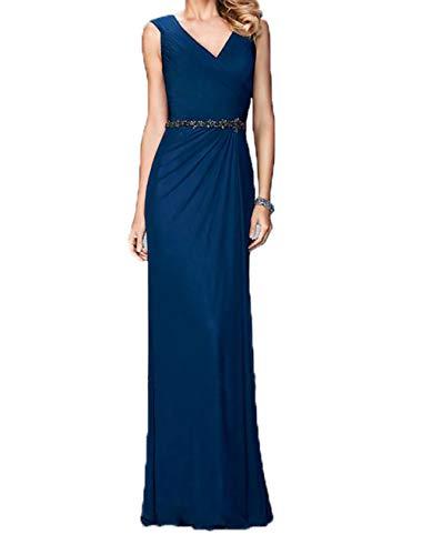Royal Ballkleider Charmant Blau Lang Damen Elegant Chiffon Abendkleider Abschlussballkleider Festlichkleider Dunkel Cqwf1qzT