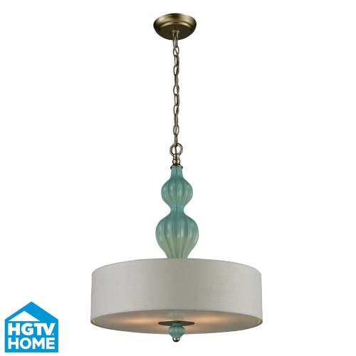 picture of Hgtv Home Lighting 31362/3 Lilliana 3-Light Pendant With White Textured Linen Shade, 18 By 23-Inch, Aged Silver Finish