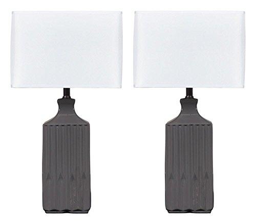 - Ashley Furniture Signature Design -  Patience Glazed Ceramic Table Lamp - Contemporary Square Shades - Set of 2 - Gray