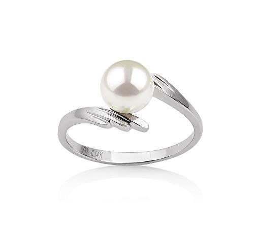 Daron White 6-7mm AAA Quality Japanese Akoya 14K White Gold Cultured Pearl Ring For Women - Size-7
