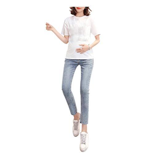 Maternity Incinta Deylaying Elastico In Con Stile Pantaloni Blu Jeans Donna Chiaro Vita ZIqxRFEq