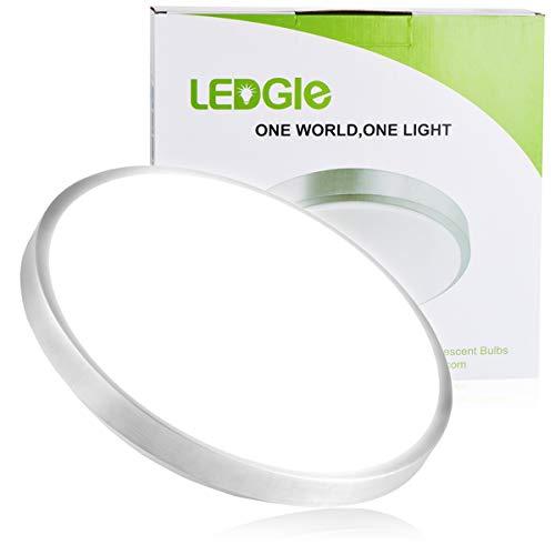 LEDGLE 25W LED Ceiling Lights, 13.6in, 220W Incandescent Bulbs Equivalent, 1800lm, Lighting for Bathroom, Kitchen, Hallway, Flush Mount Ceiling Light, 6000K Daylight White
