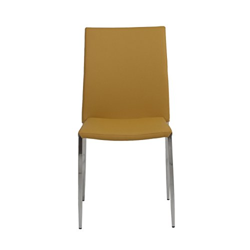 Euro Style Diana Soft Leatherette Stacking Side Chair with Stainless Steel Frame, Saffron, Set of 4