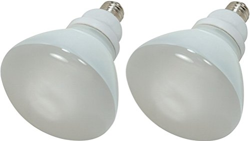 R40 23w Compact - Satco S7241 Compact Fluorescent Light Bulb (Pack of 2), 23 Watts, 120 Voltage, 1090 Initial Lumens, R40 Lamp Shape, Medium Base, E26 ANSI Base, 6.49'' MOL, 5.00'' MOD, 1000 Average Rated Hours