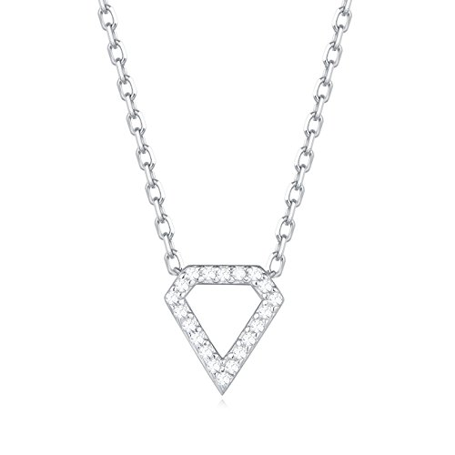 Carleen 18K White Gold Plated 925 Sterling Silver Round CZ Cubic Zirconia Diamond Shape Dainty Pendant Necklace for Women Girls with 15.75