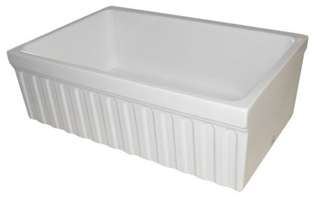 (Whitehaus WHQ330-WH Farmhaus Quatro Alcove 30-Inch Reversible Fireclay Sink with Fluted)