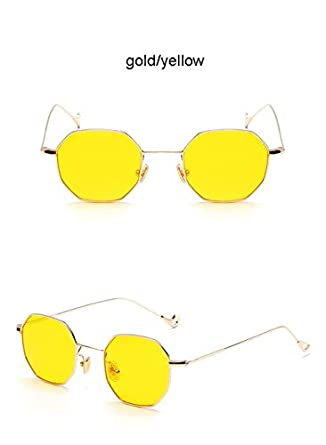 c08c594fd60 Hectare Buy 6660 gold yellow  Steampunk Polygon Shape Sunglasses Women Men  Vintage luxury Brand Designer Clear  Amazon.in  Clothing   Accessories