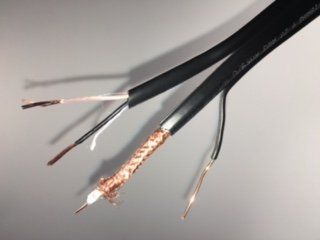 Outdoor Aerial CCTV Coax Wire Cable RG59-20AWG 95 Percent Bare Copper Braid Plus 18AWG 2 Conductor for power and Messenger for Aerial CCTV Applications on 1000FT Reels