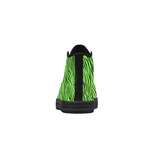 D-story Personalizzato Zebra Verde Strisce Aquila Alto Top Scarpe Donna In Pelle Azione (modello 027)