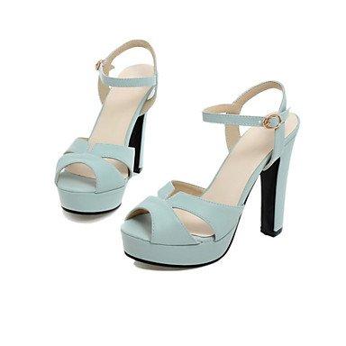 enochx Mujer Sandalias Gladiador Zapatos de primavera verano Club materiales personalizados piel sintética boda y vestido de noche Chunky heelbuckle Split, Blue, US5.5/EU36/UK3.5/CN35