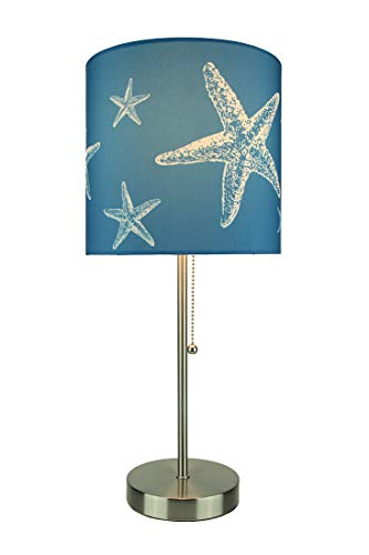 Brushed Nickel Finish Coastal Table Lamp With Blue Starfish Shade (Table Lamp Seashell)
