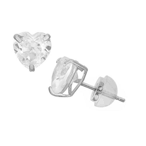 Celebrity Cz Jewelry - 14K White Gold Cubic Zirconia Heart CZ Stud Earring Comfort Fit -6mm