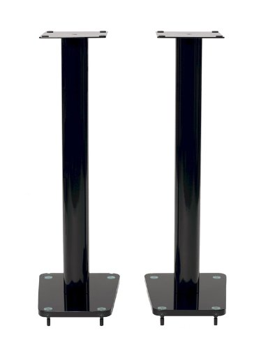TransDeco TD32BA 32-Inch Tempered Glass and Metal Speaker Stand in Gloss Black Finish