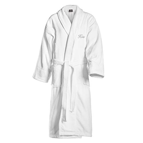 Kaufman - Terry Cloth Bathrobes 100% Cotton - His and Hers Embroidered Velour Shawl Set of Robes with His and Hers Black Towel Set 30''x58'' 4-PK by Ben Kaufman Sales (Image #1)