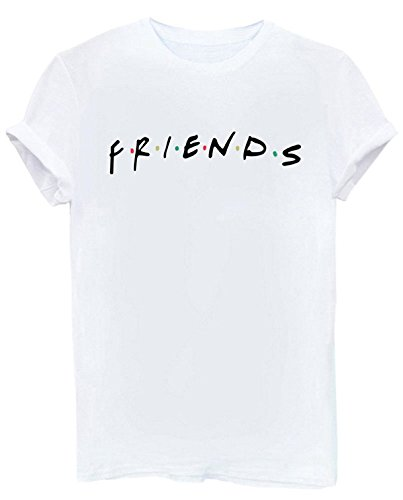 FCYOSO Teen Girl Funny Friends Print Graphic T-Shirt Women Cute Cotton Tops Large White