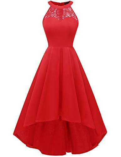 (DRESSTELLS Women's Vintage 50's Bridesmaid Halter Floral Lace Cocktail Prom Party Hi-Lo Dress Red L)
