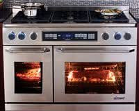 "Dacor ER48DSCH/NG Discovery 48"" Freestanding Dual Fuel Range with Natural Gas 6 Sealed Gas Burners 2.6/4.6 cu. ft. Self-Cleaning Convection Ovens: Stainless Steel with Chrome"