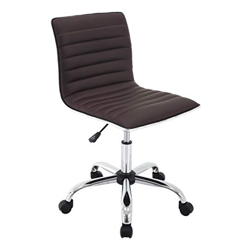 Porthos Home ZFC008A BRN Office Chair with PVC Upholstery 360° Degree Swivel and Adjustable Height and Ribbed Design, One Size, Brown