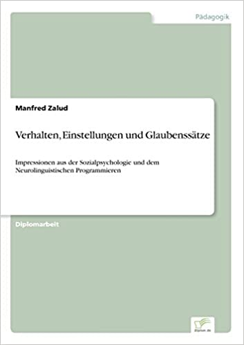 Book Verhalten, Einstellungen und Glaubenssätze: Impressionen aus der Sozialpsychologie und dem Neurolinguistischen Programmieren